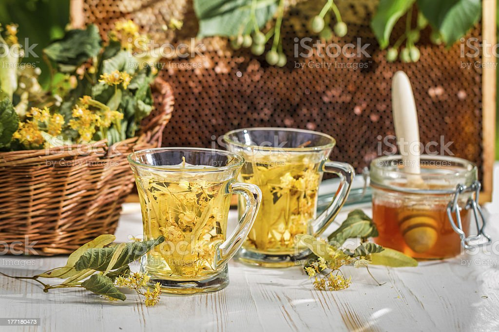 Tea with lime and honey served in the garden royalty-free stock photo