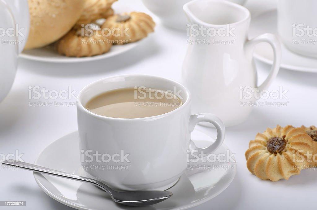 Tea with milk royalty-free stock photo