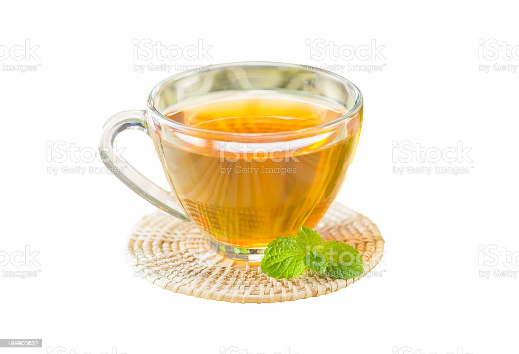 tea with mint on isolated white background, selective focus stock photo