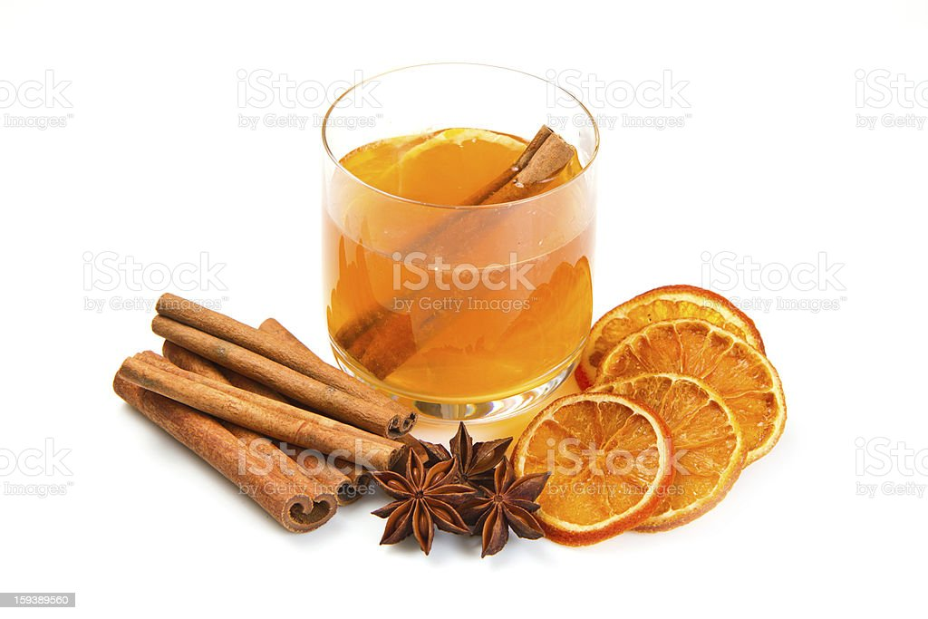 tea with oranges and cinnamon royalty-free stock photo
