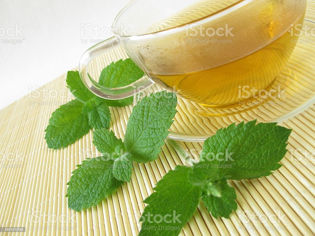 Tea with pineapple mint stock photo