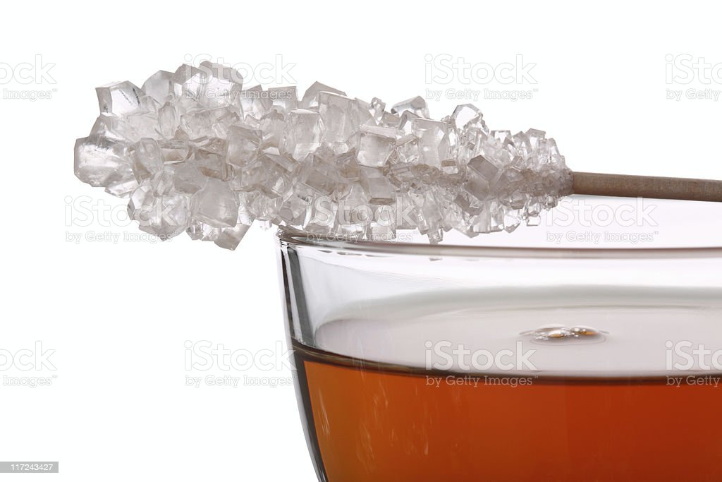 Tea with Rock Candy Close-Up stock photo