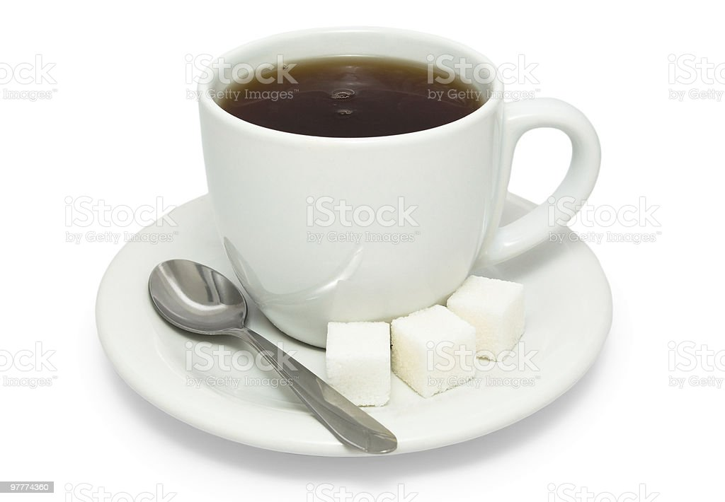 Tea with sugar in white cup royalty-free stock photo