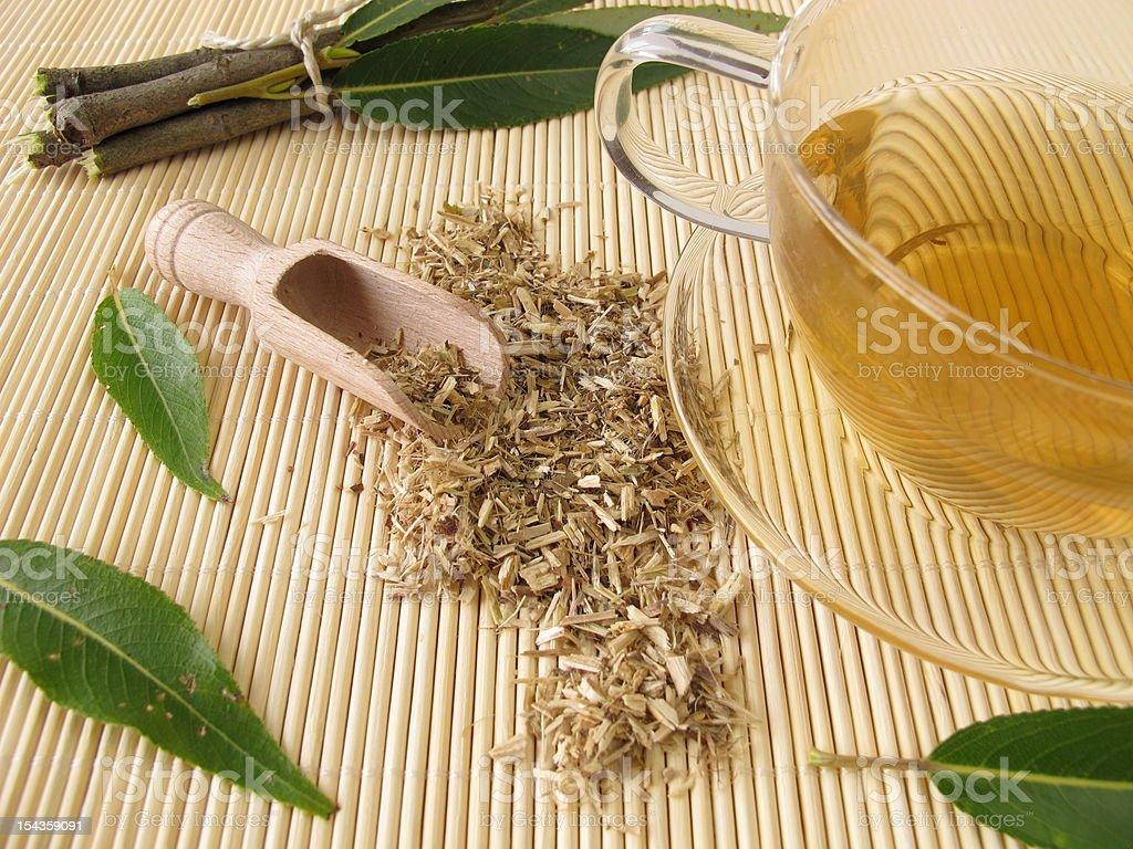 Tea with willow bark stock photo