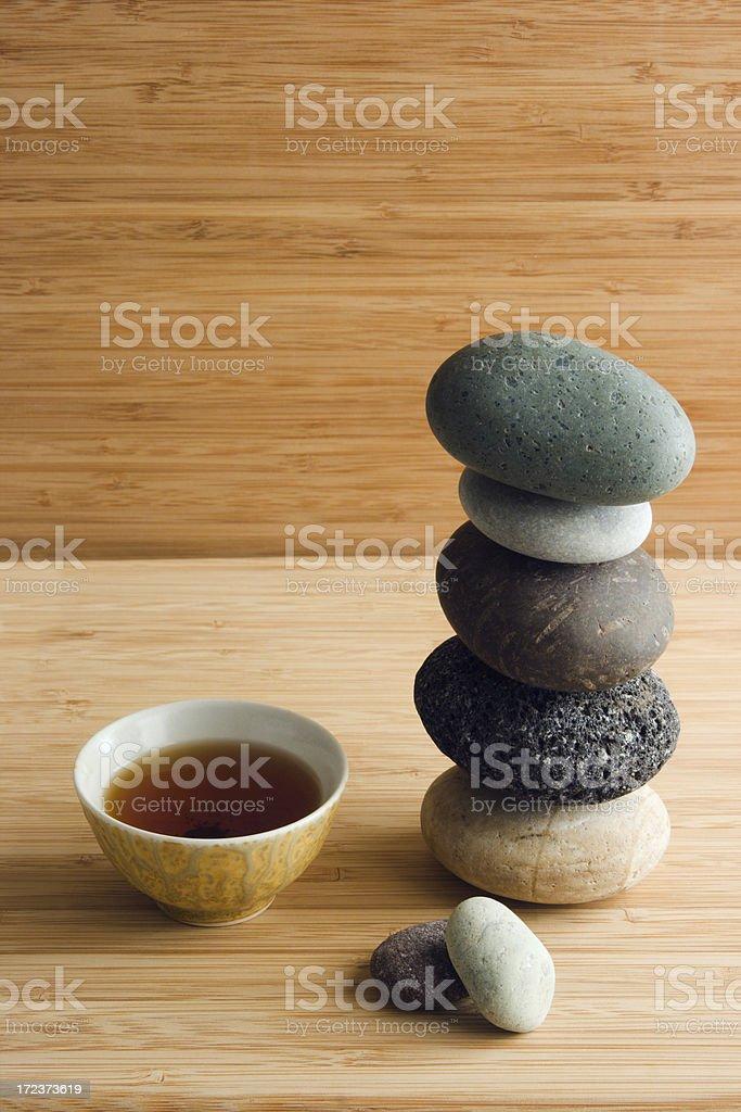 Tea & Zen Pebbles royalty-free stock photo
