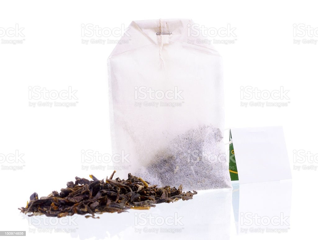 Teabag with white label and tea loose royalty-free stock photo