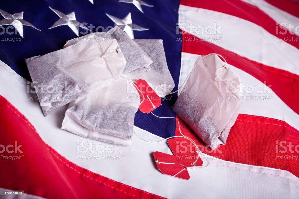 Teabags and the flag (horizontal) stock photo