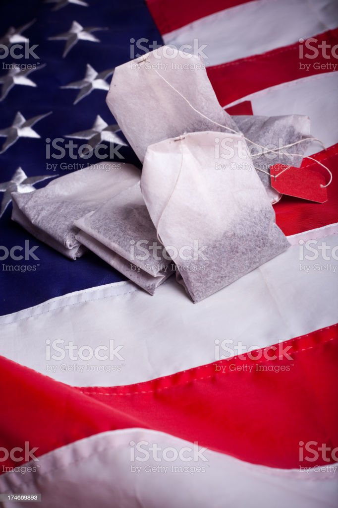 Teabags and the flag (vertical) royalty-free stock photo