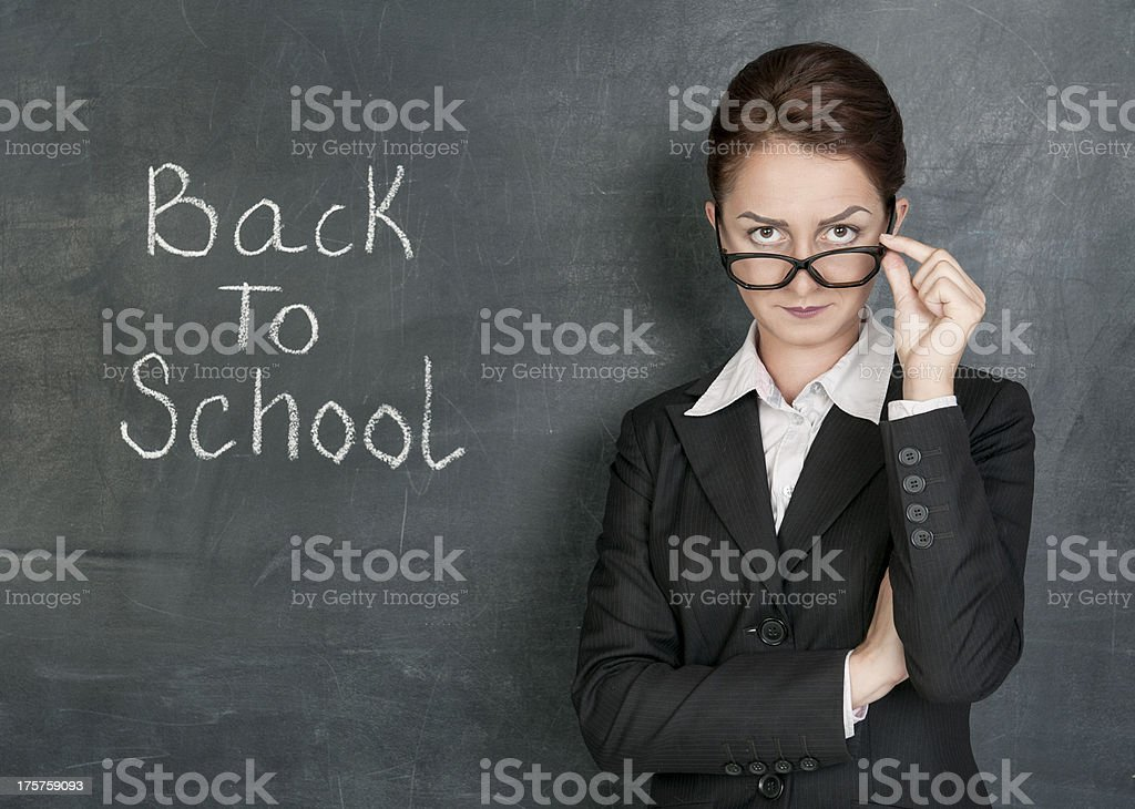 Teacher and phrase Back to school royalty-free stock photo