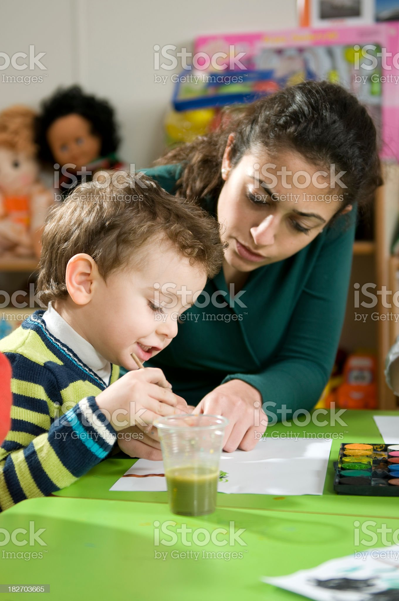 Teacher and Preschooler royalty-free stock photo