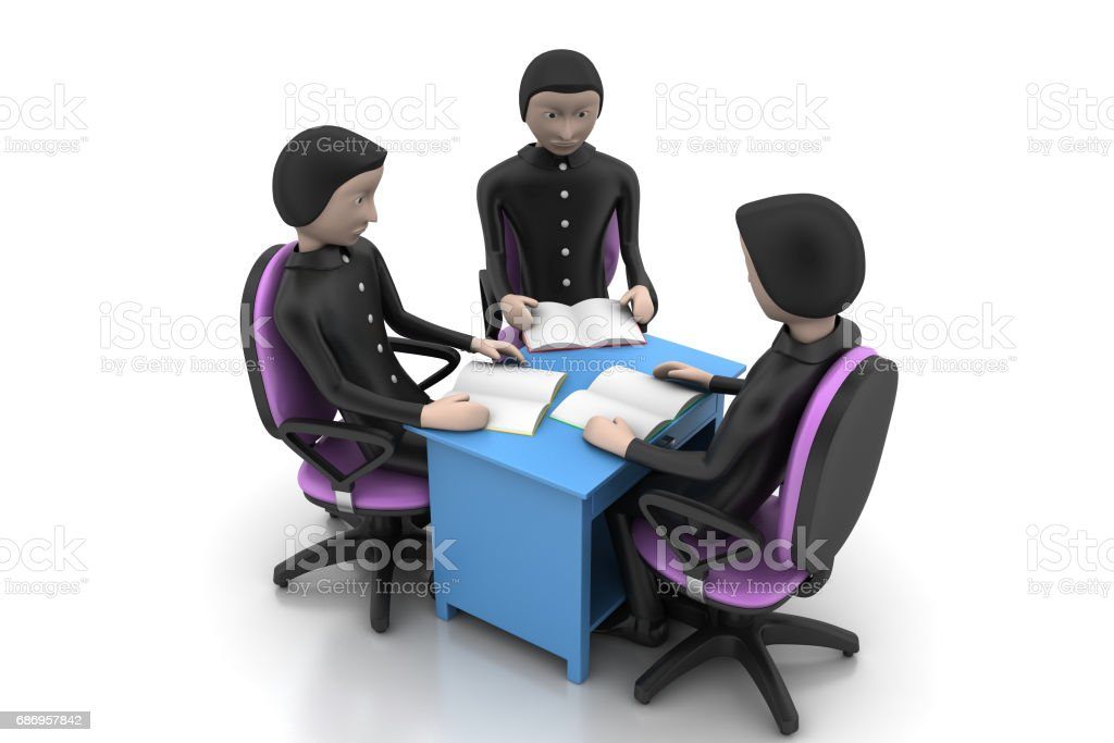 Teacher and students discussion stock photo