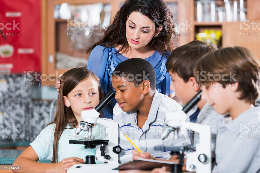 Teacher and students in science lab royalty-free stock photo