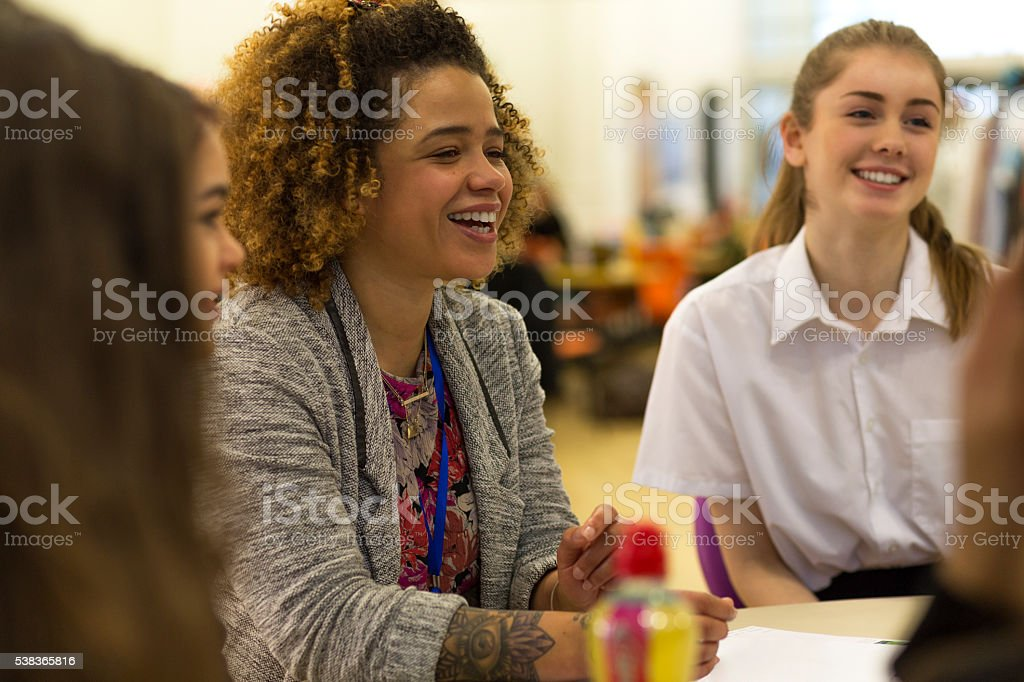 Teacher and Students in the Classroom stock photo