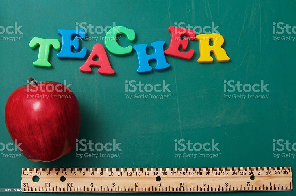 Teacher Apple Chalkboard stock photo