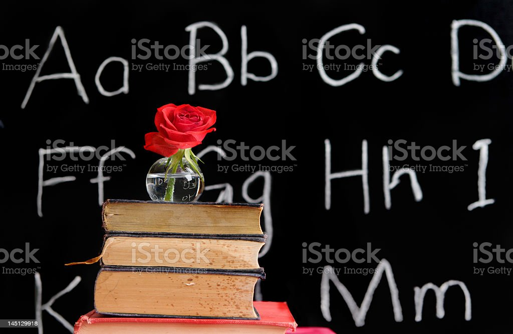 teacher appreciation - rose and a blackboard royalty-free stock photo