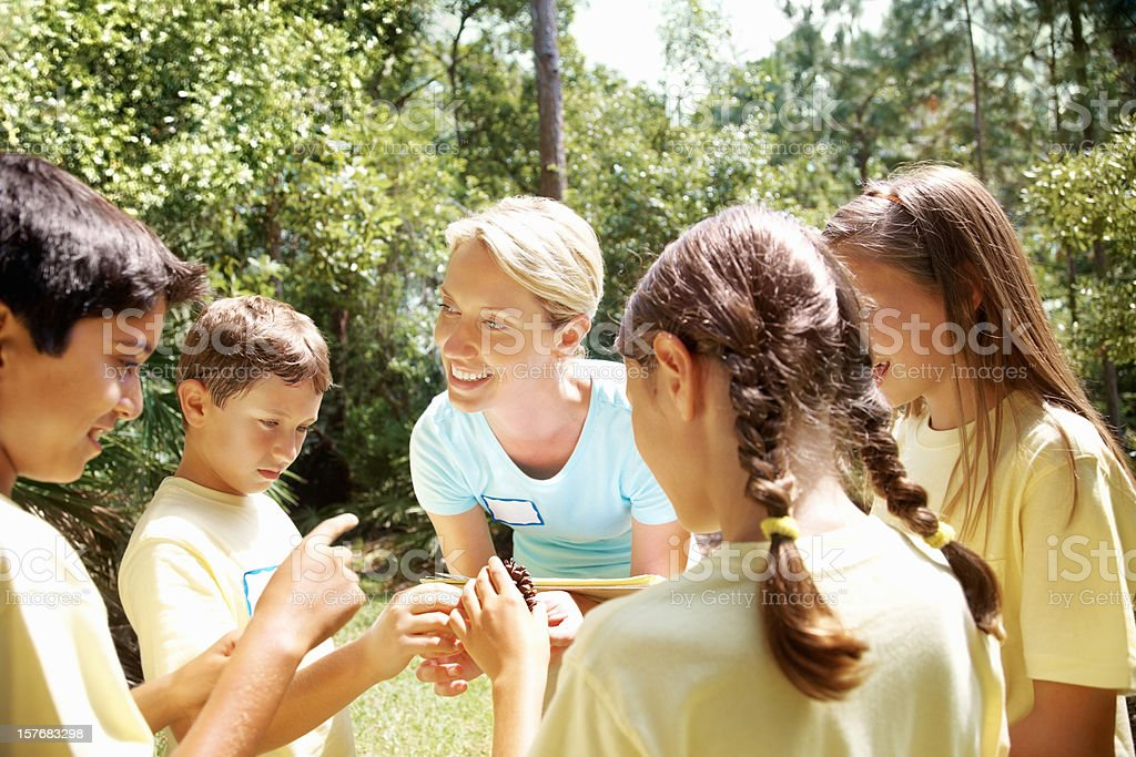 Teacher explaining about pine seeds to students on field trip royalty-free stock photo
