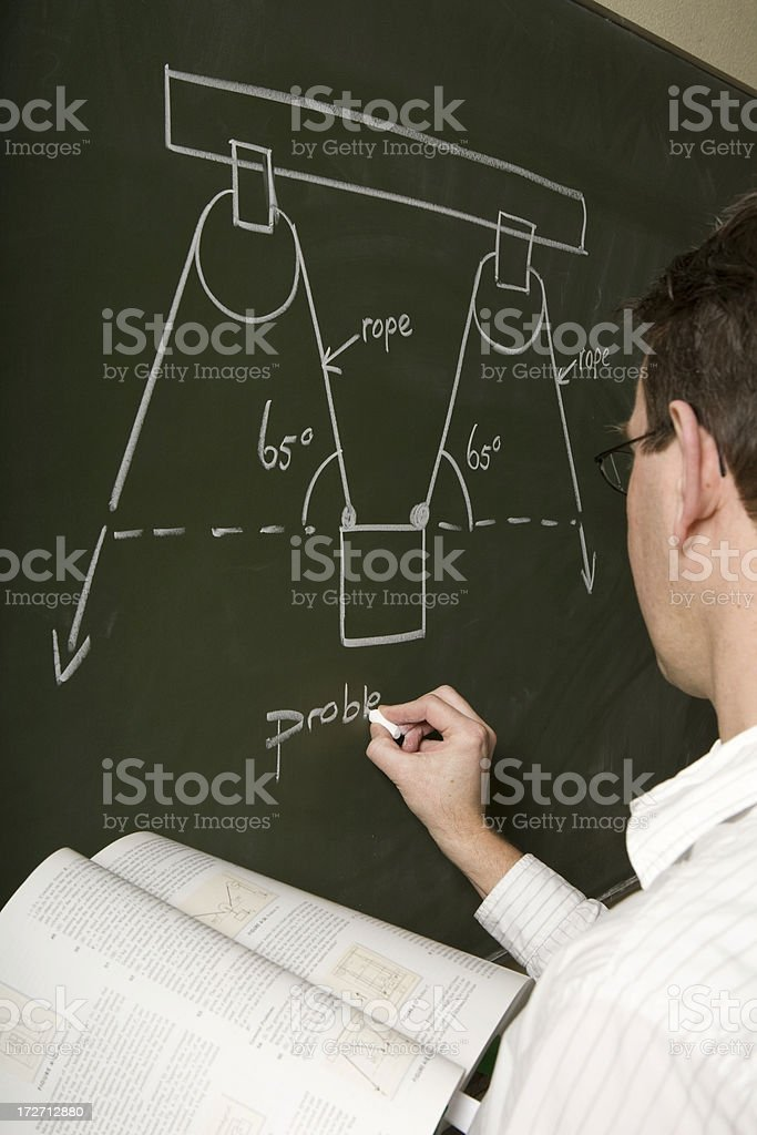 Teacher gives a assignment on the blackboard royalty-free stock photo