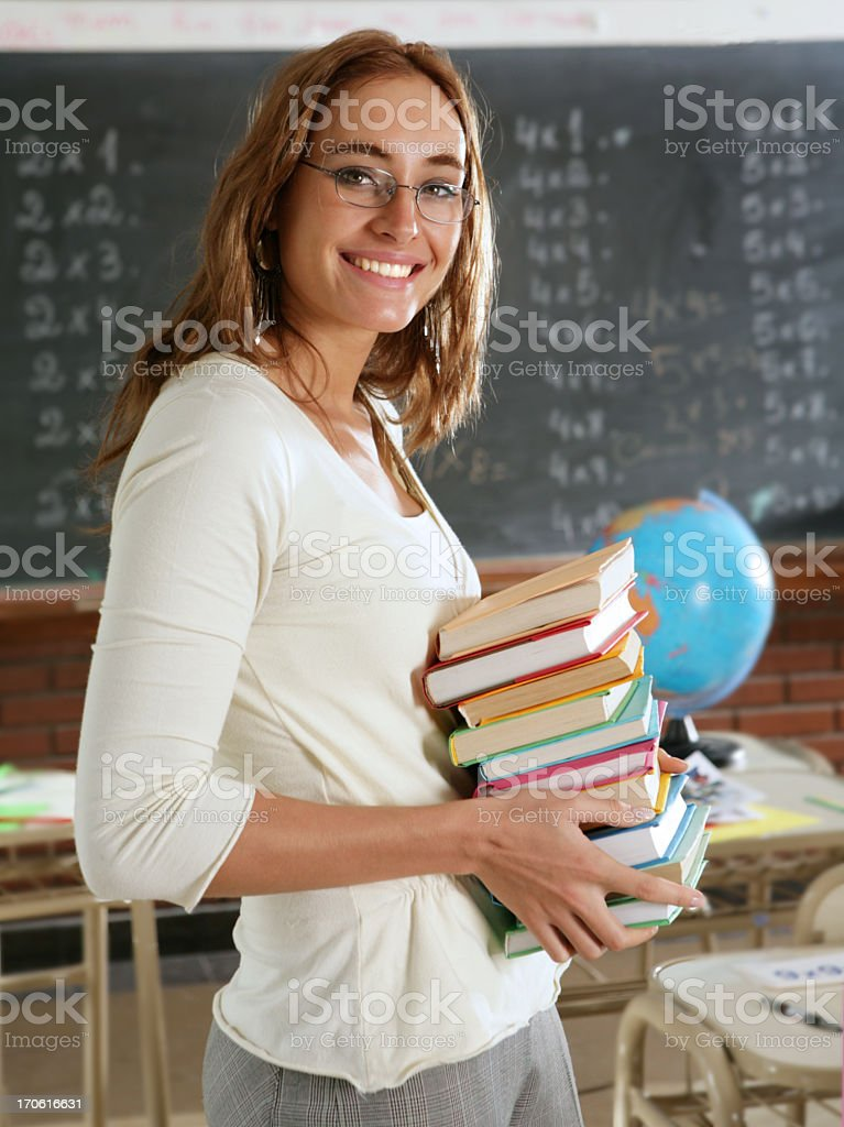 teacher hold textbooks royalty-free stock photo