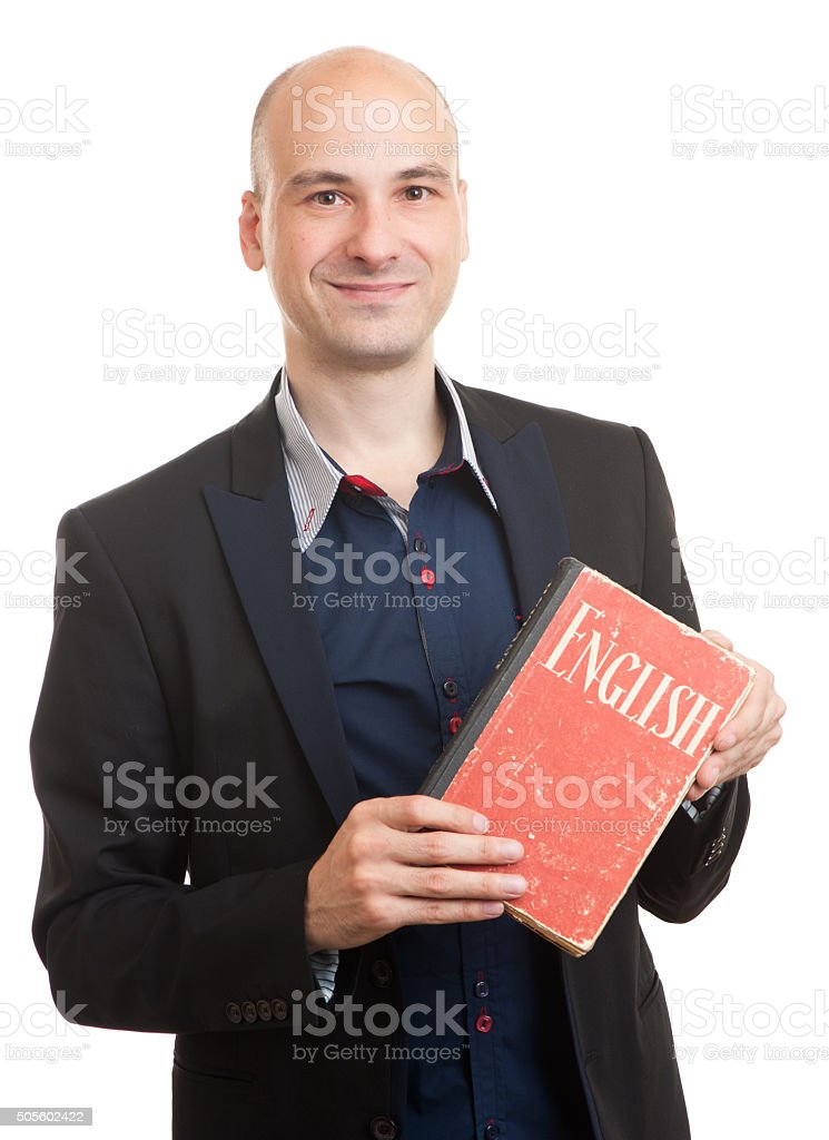 teacher holding a book. english learning concept stock photo