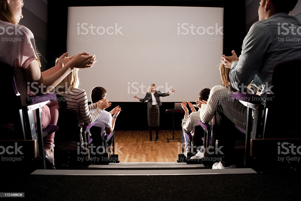 Teacher in a Lecture Hall royalty-free stock photo