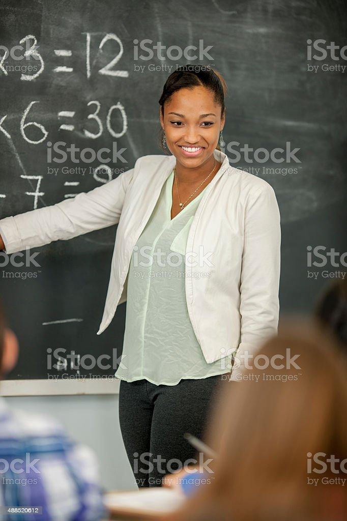 Teacher is Leading a Math Class stock photo