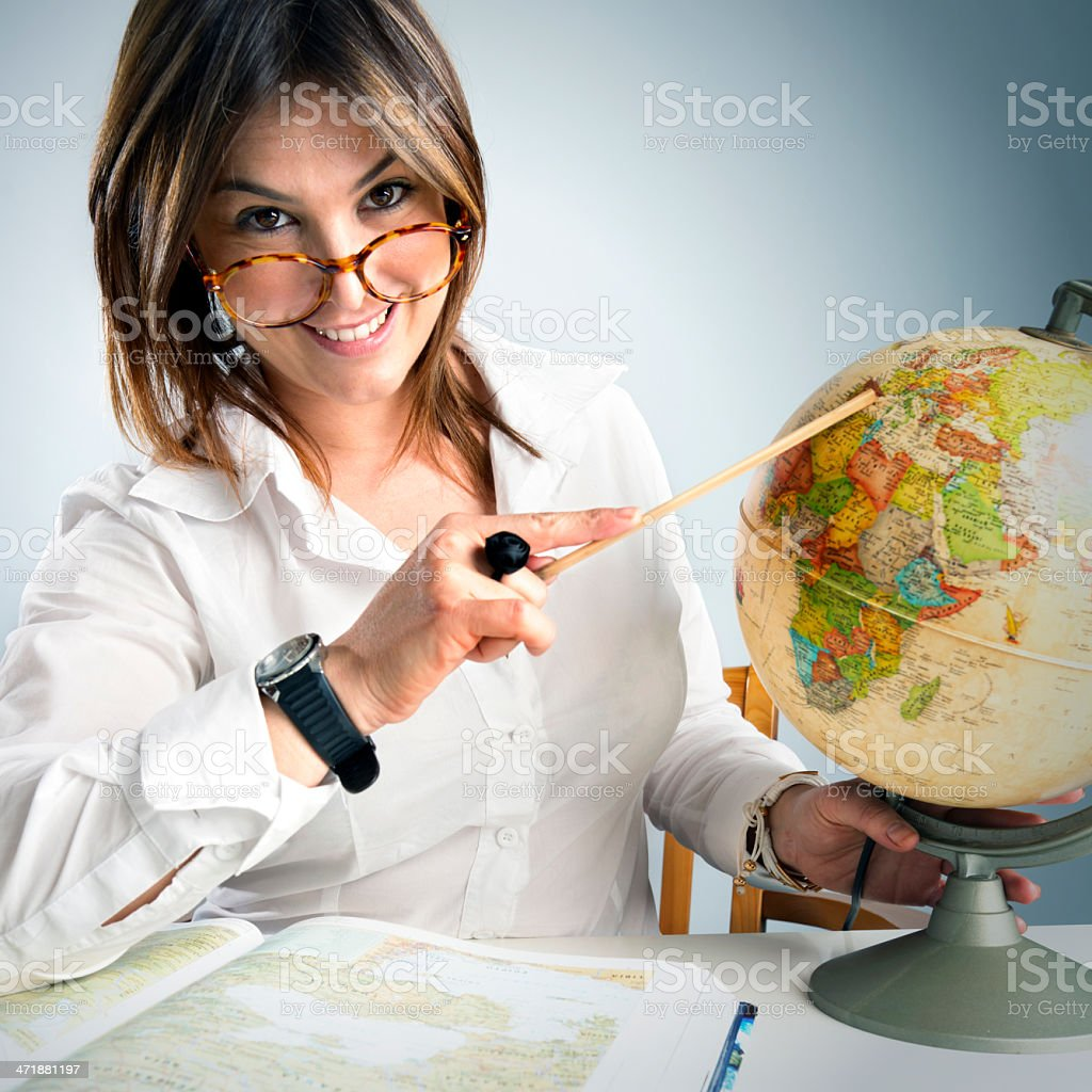 Teacher of geography royalty-free stock photo