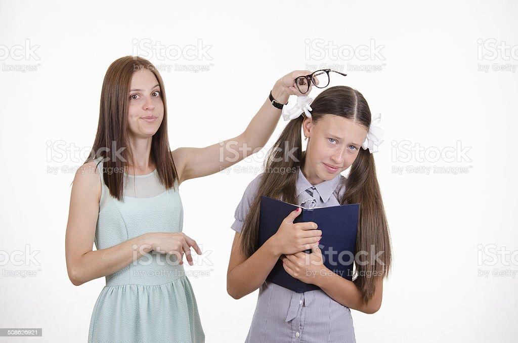 Teacher scolds student stock photo