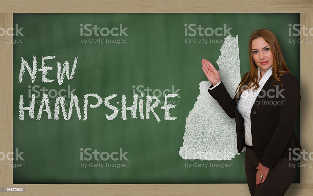 Teacher showing map of new hampshire on blackboard vector art illustration