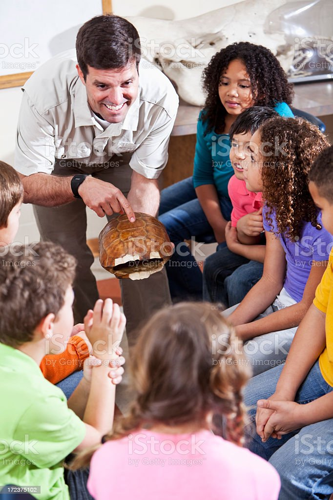 Teacher showing turtle shell to students stock photo