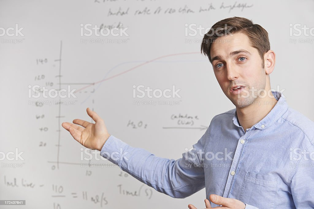 Teacher Standing In Front Of Whiteboard royalty-free stock photo
