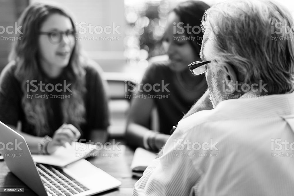 Teacher Students Meeting Talking Planning Concept stock photo