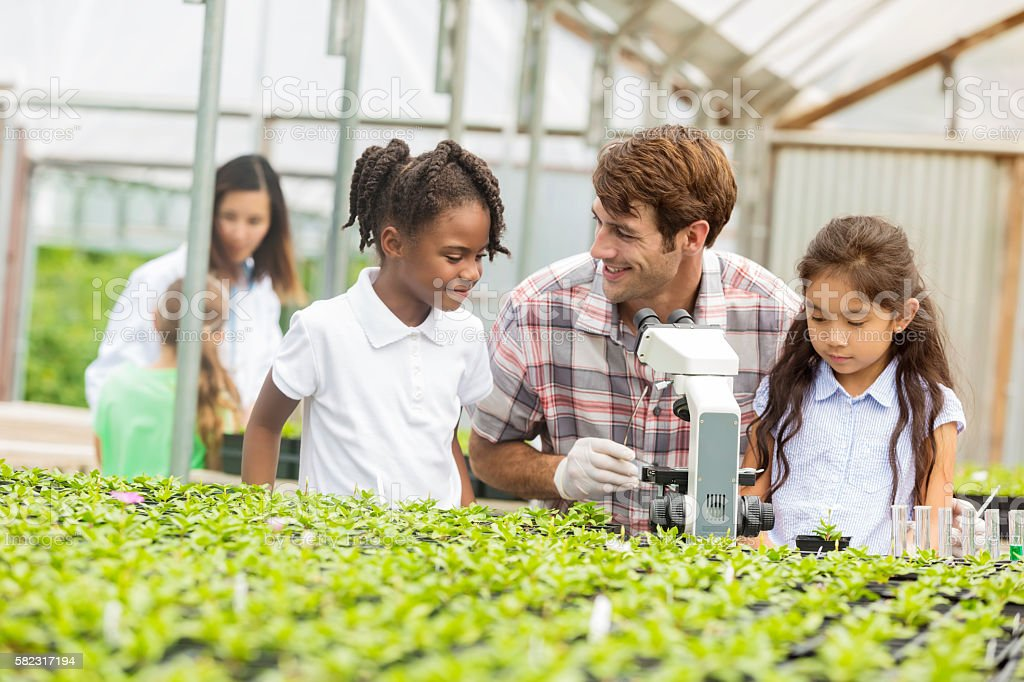 Teacher talks to students about botany during field trip stock photo