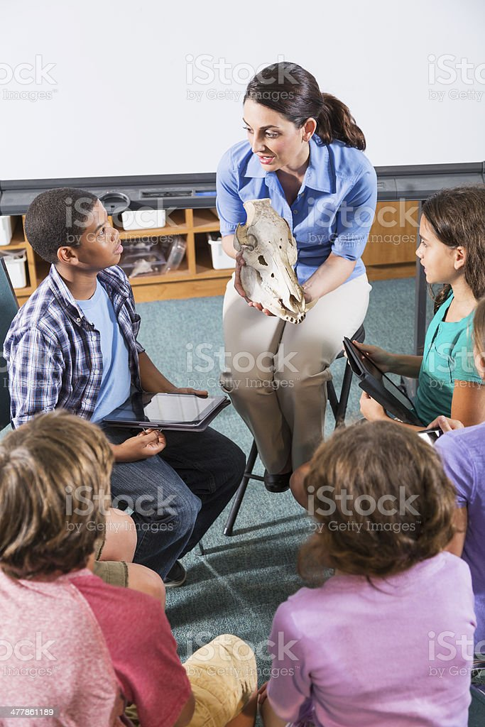 Teacher with elementary school students royalty-free stock photo