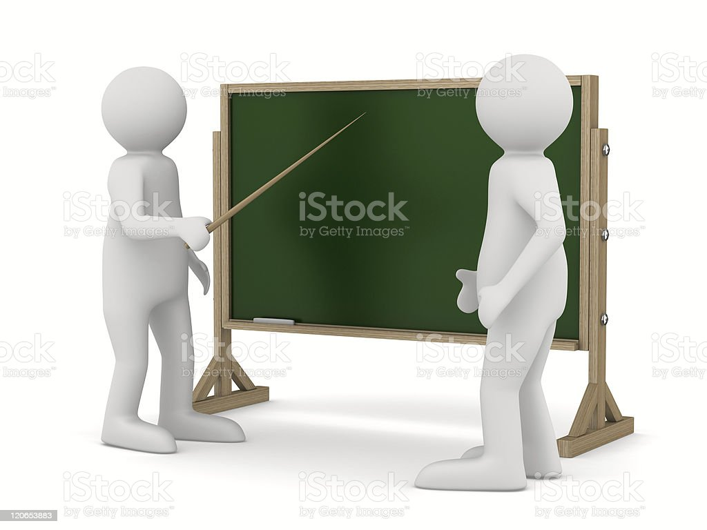 teacher with pointer at blackboard. Isolated 3D image royalty-free stock photo