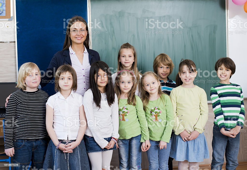 Teacher with students royalty-free stock photo