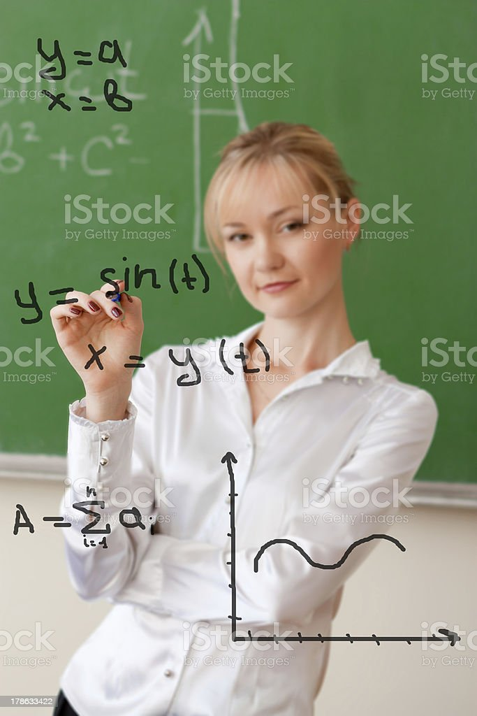 teacher writes formula on glass royalty-free stock photo