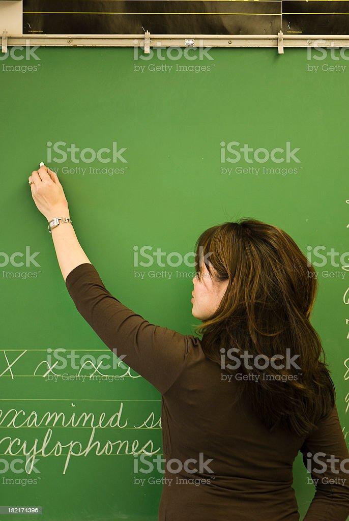 Teacher Writing On Blackboard royalty-free stock photo