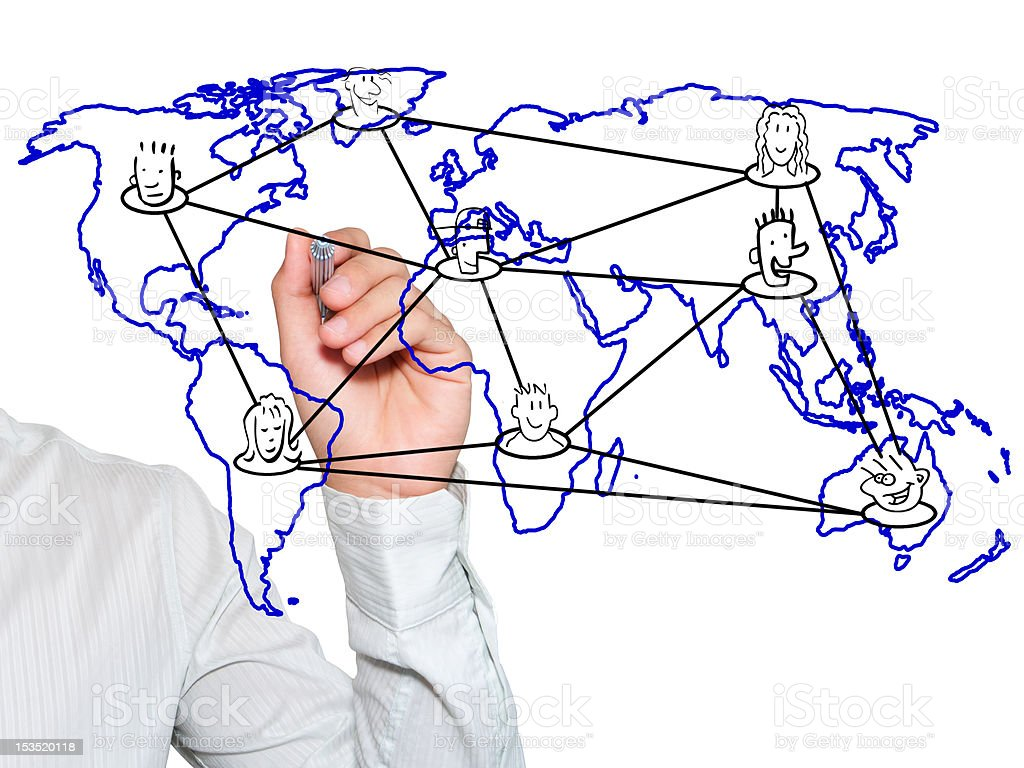 Teacher writing social network connection on world map royalty-free stock photo