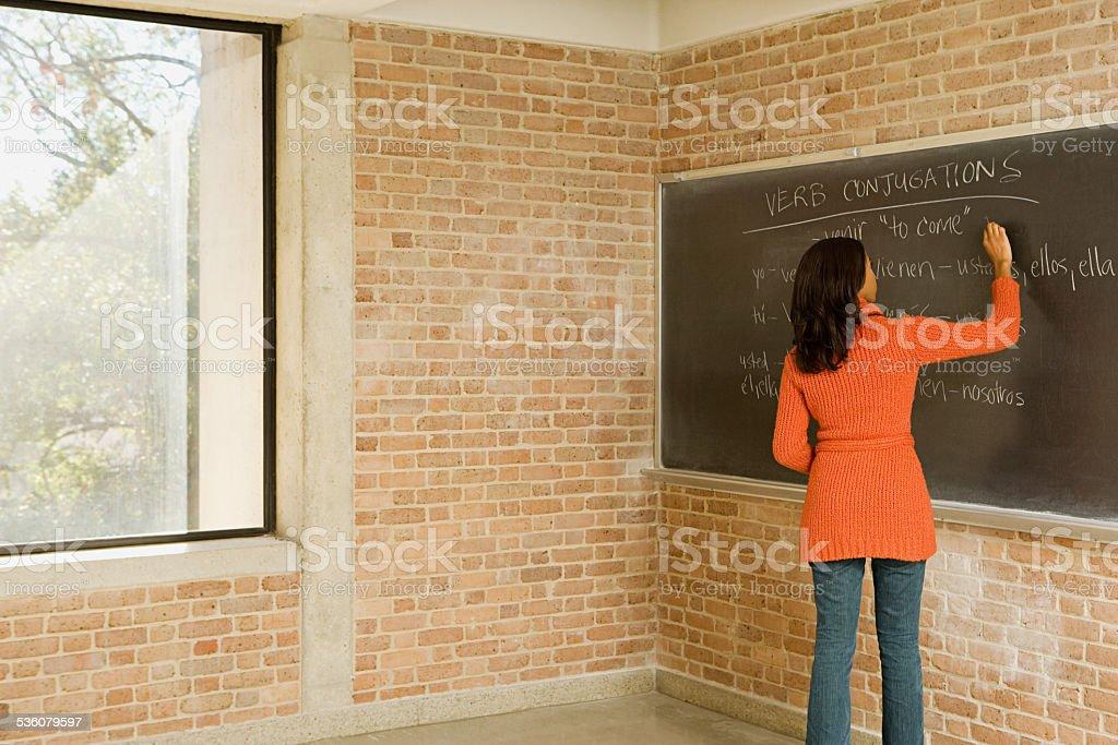 Teacher writing spanish text on blackboard stock photo