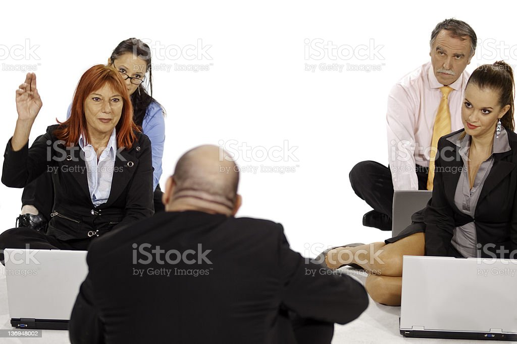 Teacher in front of his computer class royalty-free stock photo