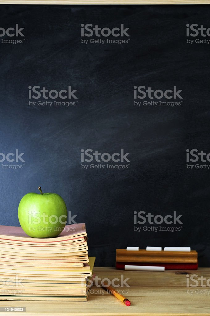 Teacher's Desk and Chalkboard royalty-free stock photo
