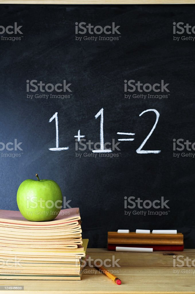 Teacher's desk with stack of books apple and chalkboard stock photo