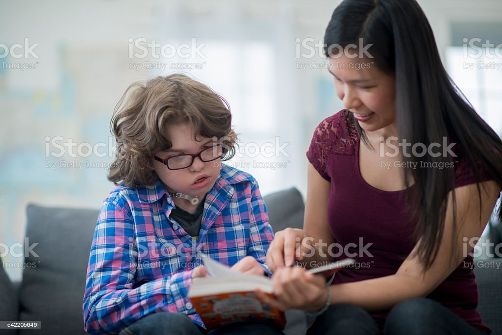 Teaching a Child How to Read stock photo