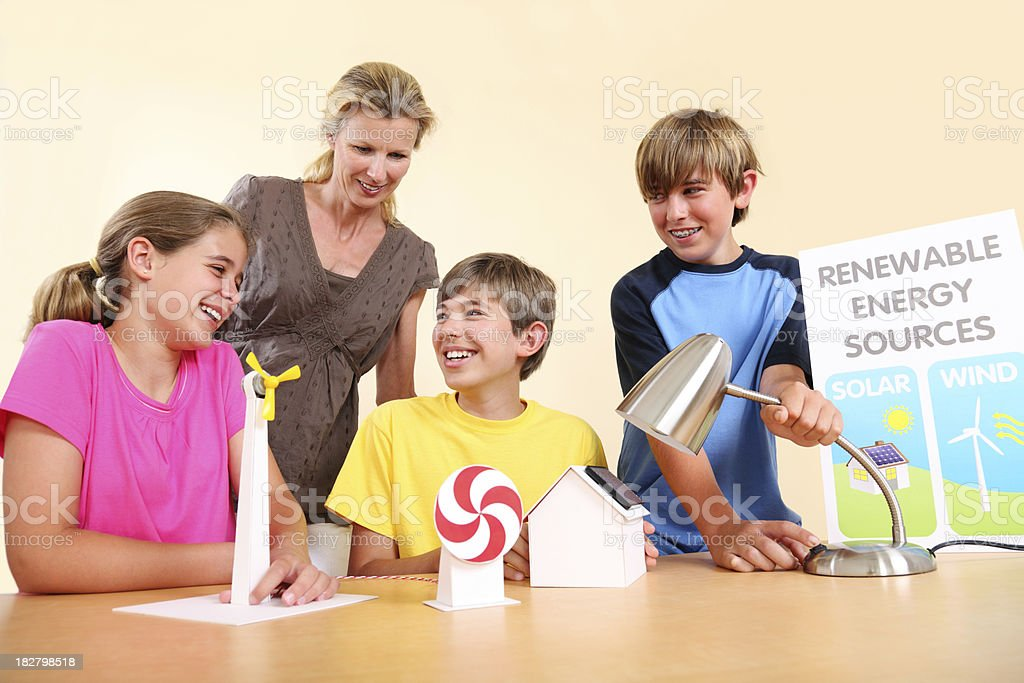 Teaching About Renewable Energy royalty-free stock photo