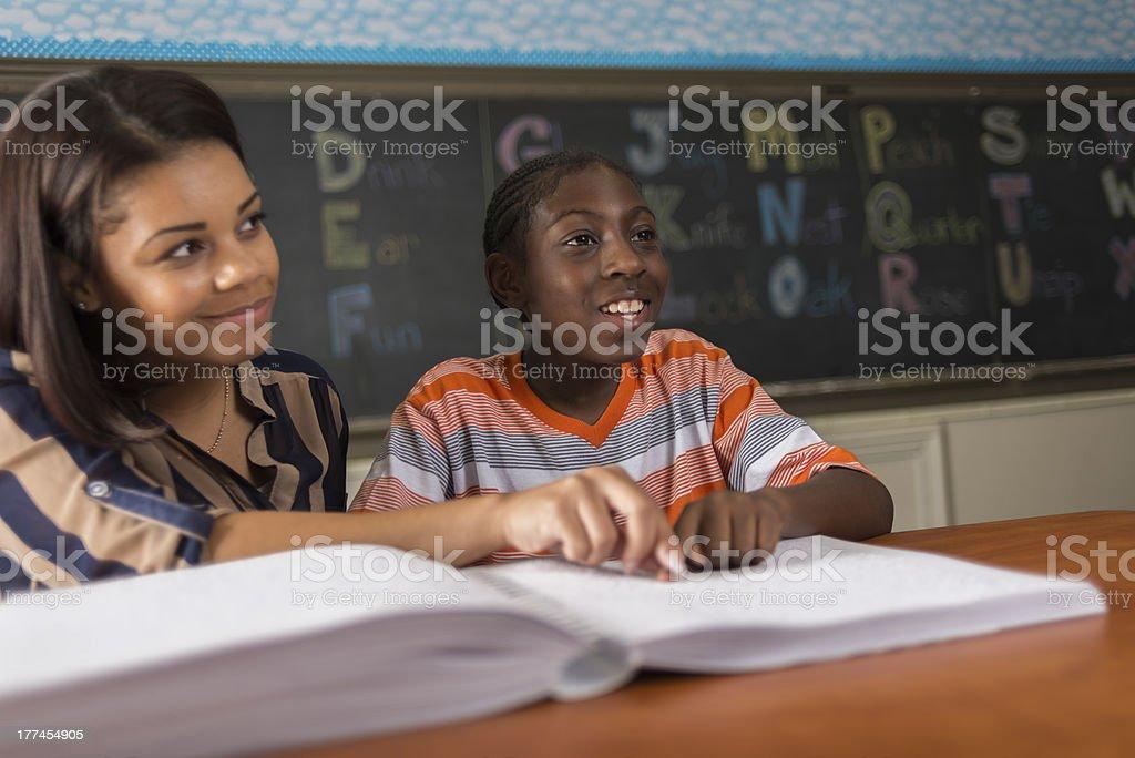 Teaching Braille stock photo