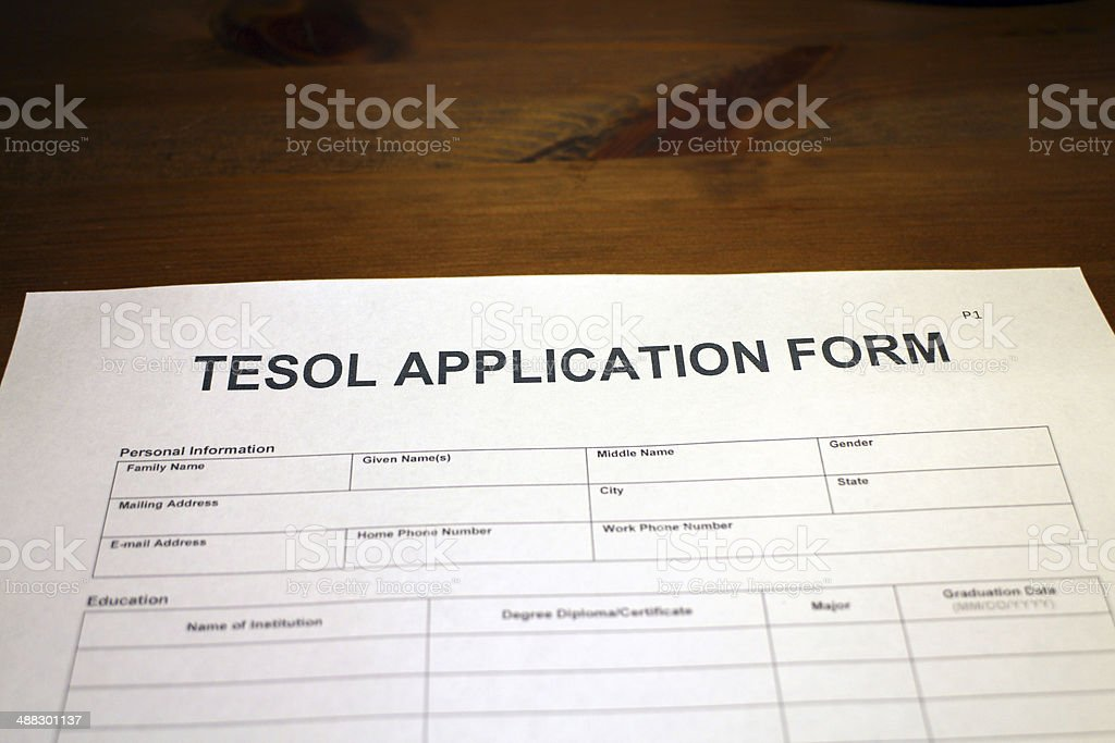 Teaching English application form stock photo