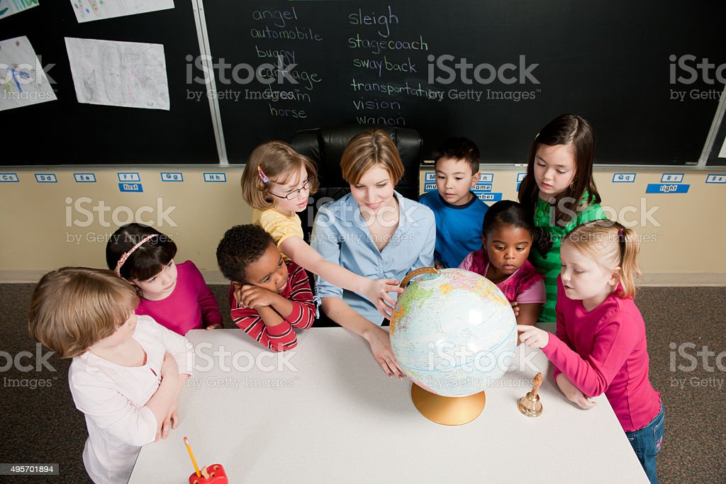 Teaching Geography in Class stock photo
