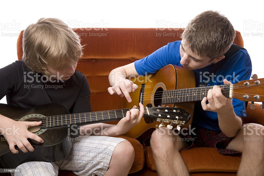 Teaching Guitar royalty-free stock photo