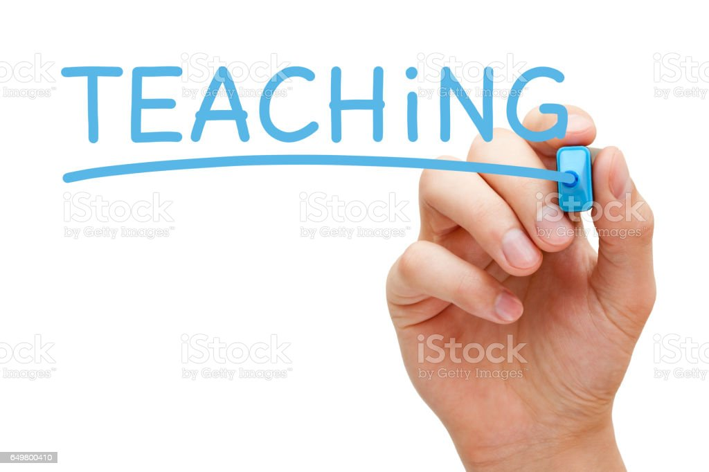 Teaching Handwritten With Blue Marker stock photo