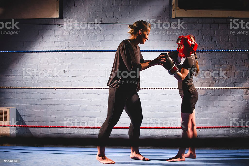 Teaching her to fight! stock photo